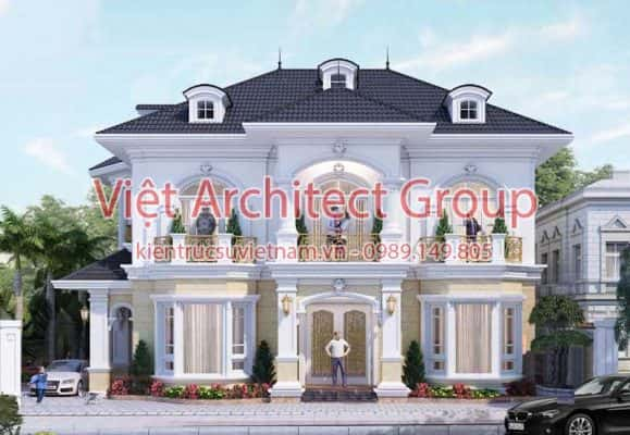biet thu co dien dep 5 579x400 - Ảnh công trình thiết kế biệt thự tân cổ điển đẹp