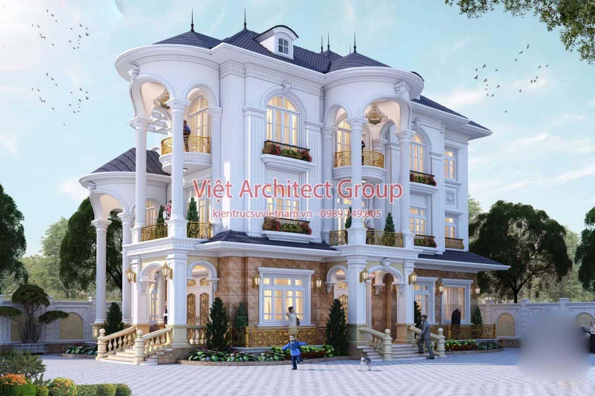 biet thu co dien dep 6 1200x800 - Công trình biệt thự 3 tầng  tân cổ điển kiến trúc mái thái 130m2