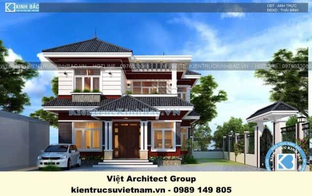 biet thu dep 2 tang mai thai 1 634x400 - Ảnh công trình thiết kế biệt thự 2 tầng mái thái đẹp