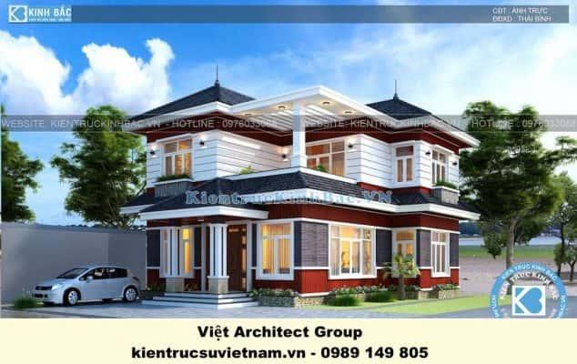biet thu dep 2 tang mai thai 3 634x400 - Công trình biệt thự 2 tầng kiến trúc mái thái đẹp với kinh phí ~ 1.8 tỷ