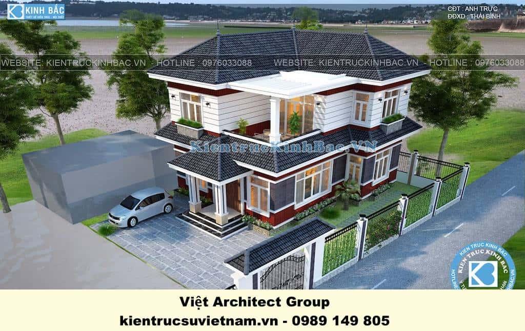 biet thu dep 2 tang mai thai 4 - Công trình biệt thự 2 tầng kiến trúc mái thái đẹp ấn tượng