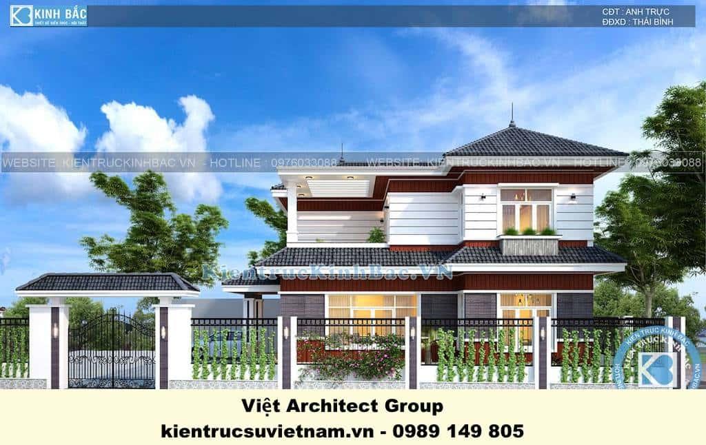 biet thu dep 2 tang mai thai 5 - Công trình biệt thự 2 tầng kiến trúc mái thái đẹp ấn tượng