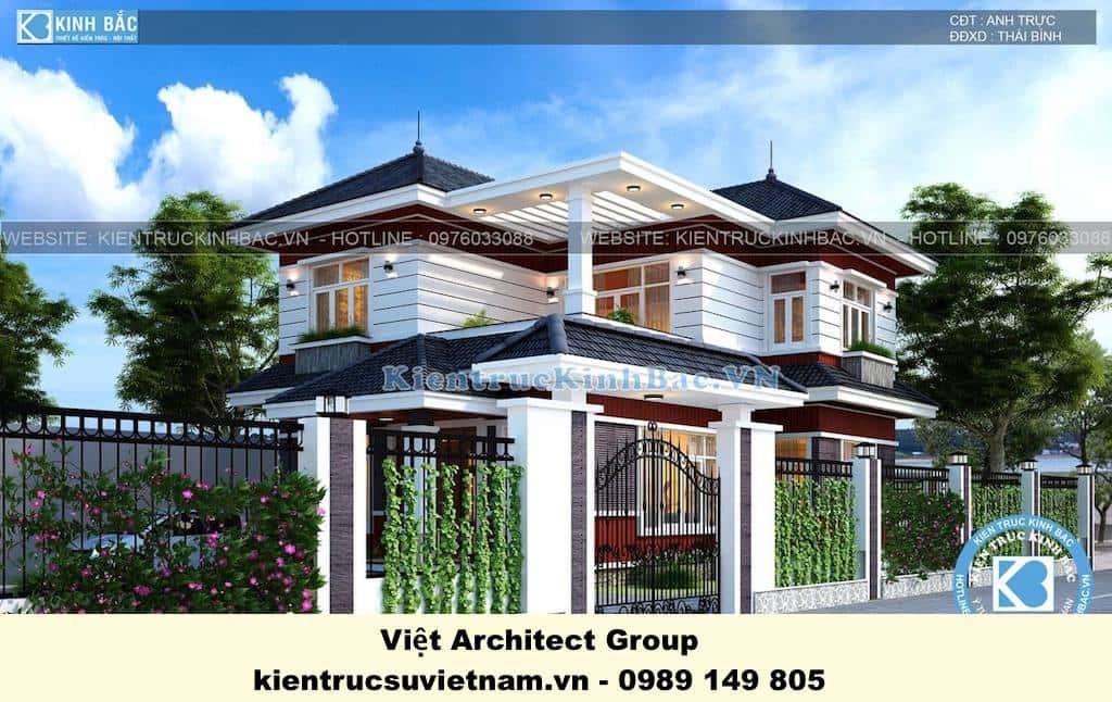 biet thu dep 2 tang mai thai - Công trình biệt thự 2 tầng kiến trúc mái thái đẹp ấn tượng
