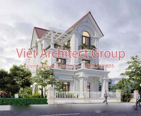 biet thu dep viet architect group ms0012 485x400 - Thiết kế biệt thự phố 2 mặt tiền đẹp
