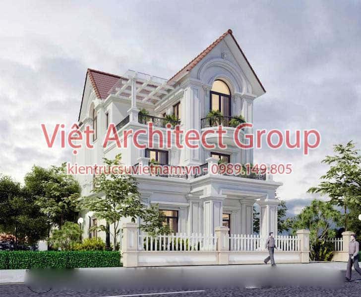 biet thu dep viet architect group ms0012 - Thiết kế biệt thự phố 2 mặt tiền đẹp