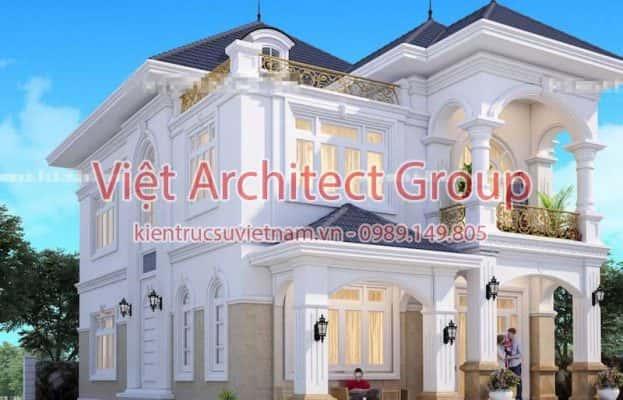 biet thu dep viet architect group ms007 623x400 - Ảnh công trình thiết kế biệt thự tân cổ điển đẹp