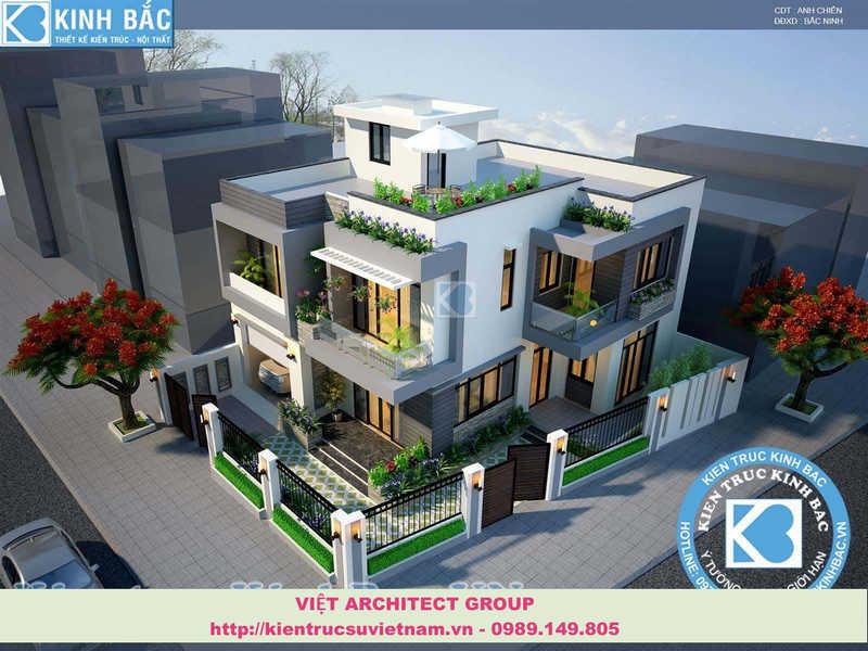 biet thu dep viet architect group - Thiết kế biệt thự 3 tầng đẹp
