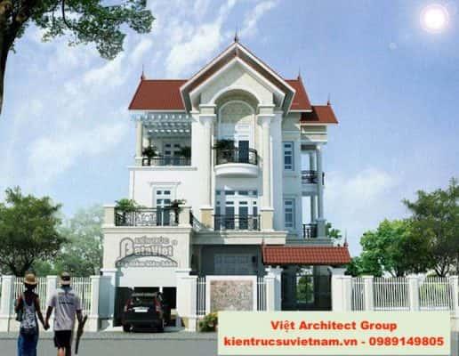 biet thu mai doc dep 26 516x400 - Ảnh công trình thiết kế biệt thự 3 tầng đẹp