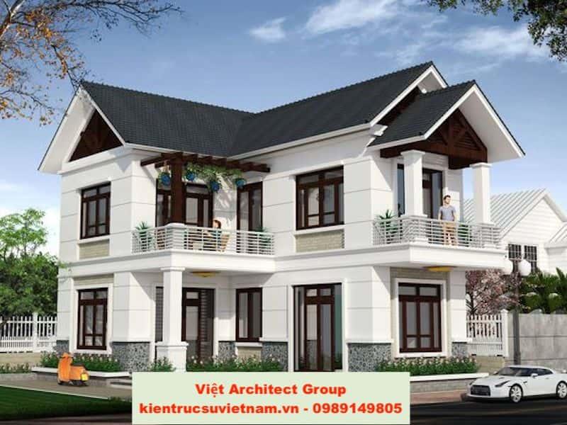 biet thu mai doc dep 8 - Công trình biệt thự 2 tầng hiện đại Chị Hương Đà Nẵng