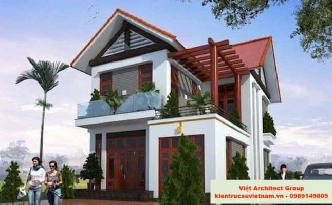 biet thu mai thai dep 646x400 - Ảnh công trình thiết kế biệt thự 2 tầng đẹp