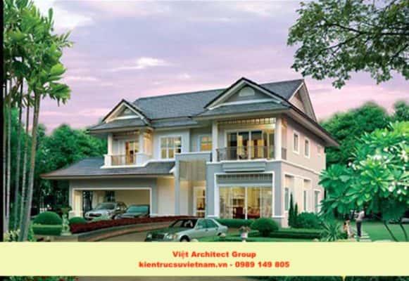 biet thu vuon dep 5 581x400 - Ảnh công trình thiết kế biệt thự 2 tầng đẹp