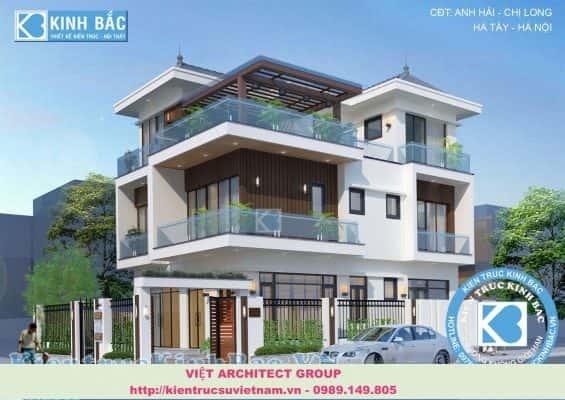 mau biet thu 3 tang dep hien dai 565x400 - Mẫu thiết kế biệt thự phố đẹp ấn tượng với kiến trúc hiện đại