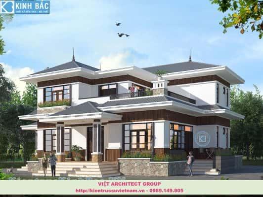 mau biet thu dep 2 tang mai thai 532x400 - 3 bản vẽ biệt thự 2 tầng đẹp, tối ưu công năng