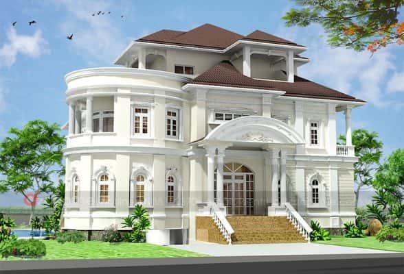 thiet ke biet thu co dien san vuon 1 588x400 - Ảnh công trình thiết kế biệt thự 3 tầng đẹp