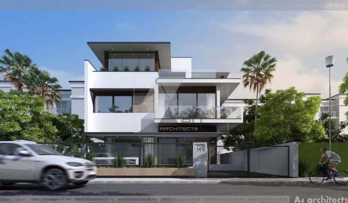 thiet ke biet thu phoi canh tong the 2 684x400 - Ảnh công trình thiết kế biệt thự hiện đại đẹp