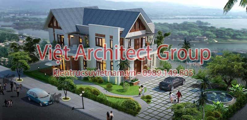 thiet ke biet thu viet architect group - Công trình biệt thự 2 tầng kiến trúc mái thái đẹp