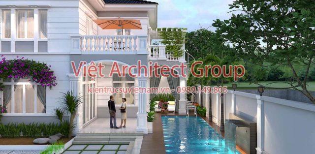 biet thu tan co dien dep 1 e1594117171691 - Thiết kế biệt thự 2 tầng có hồ bơi mini - Chi phí xây dựng phần nhà chính có 1.2 tỷ.