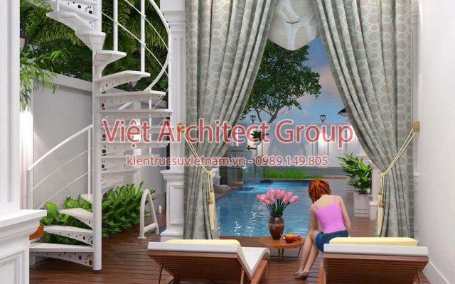 noi that biet thu ho boi e1594117116565 - Thiết kế biệt thự 2 tầng có hồ bơi mini - Chi phí xây dựng phần nhà chính có 1.2 tỷ.