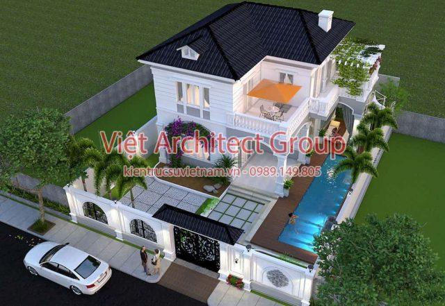 thiet ke biet thu e1594117182732 - Thiết kế biệt thự 2 tầng có hồ bơi mini - Chi phí xây dựng phần nhà chính có 1.2 tỷ.