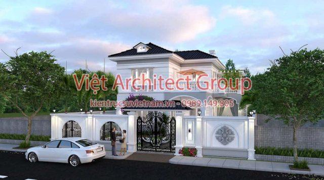 thiet ke biet thu tan co dien e1594117212879 - Thiết kế biệt thự 2 tầng có hồ bơi mini - Chi phí xây dựng phần nhà chính có 1.2 tỷ.