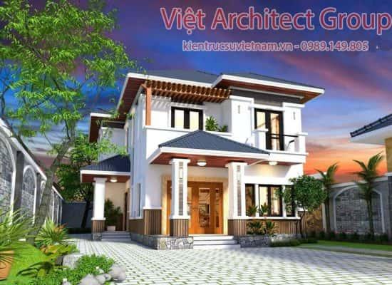 biet thu 2 tang hien dai mai thai 1 550x400 - Biệt thự hiện đại 2 tầng 11 x 13,5m2 Nghi Lộc - Nghệ An