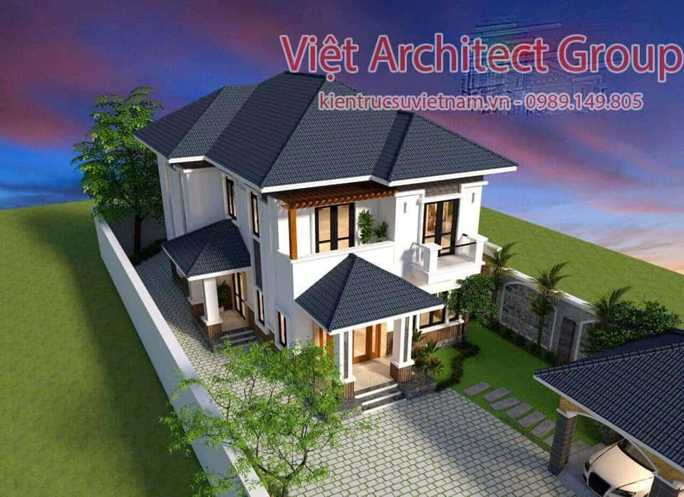 biet thu 2 tang hien dai mai thai - Biệt thự hiện đại 2 tầng 11 x 13,5m2 Nghi Lộc - Nghệ An