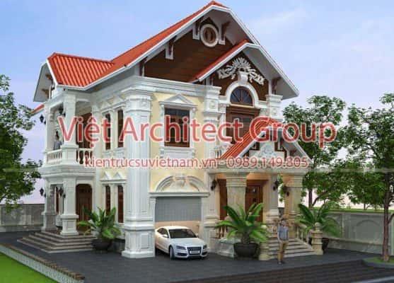 biet thu 2 tang tan co dien 557x400 - Biệt thự 2 tầng kiến trúc kiểu Pháp