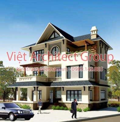biet thu 3 tang mai thai 394x400 - Công trình biệt thự 3 tầng kiến trúc mái thái đẹp