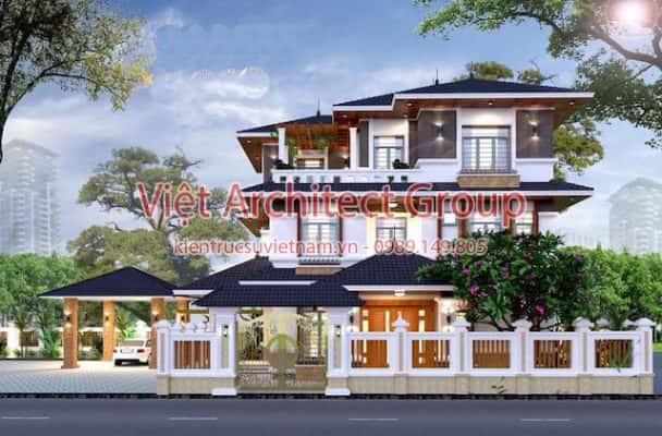 biet thu 3 tang mai thai dep ms005 608x400 - Báo giá thiết kế: Nhà, biệt thự, nội thất