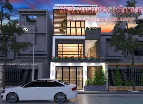 nha pho 2 tang ban ham 551x400 - Công trình thiết kế nhà phố 3 tầng 3 phòng ngủ 5.5mx18m