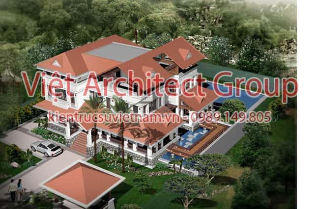thiet ke biet thu 3 tang tan co dien dep ae b1443 1 - Biệt thự 3 tầng mái thái đẹp