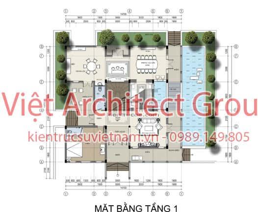 thiet ke biet thu 3 tang tan co dien dep ae b1443 3 - Biệt thự 3 tầng mái thái đẹp