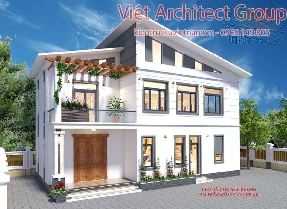 nha 3 tang mai lech 1 - Công trình nhà ở 2 tầng mái lệch 8x12,5 với 3 phòng ngủ