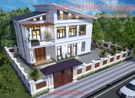 nha 3 tang mai lech 2 550x400 - Công trình nhà ở 2 tầng mái lệch 8x12,5 với 3 phòng ngủ