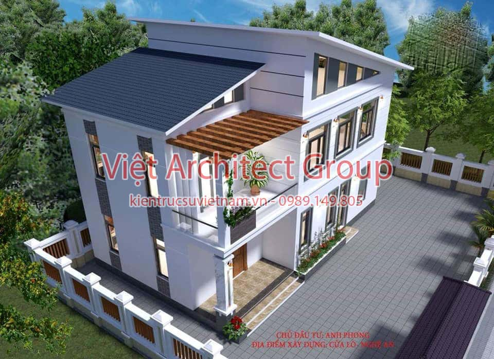 nha 3 tang mai lech - Công trình nhà ở 2 tầng mái lệch 8x12,5 với 3 phòng ngủ