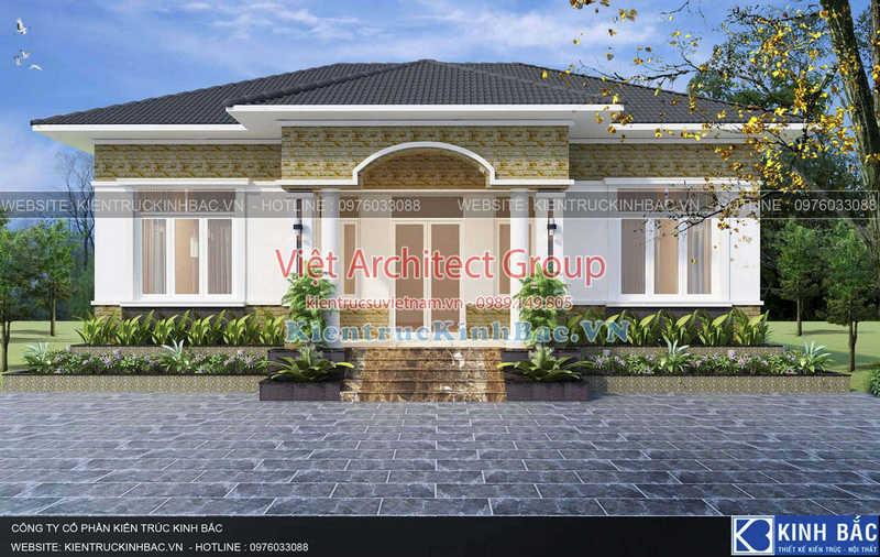 biet thu 1 tang 040519 1 - Thiết kế nhà 1 tầng đẹp