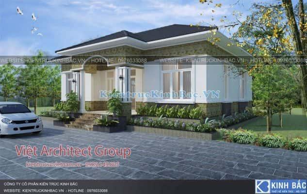 biet thu 1 tang 040519 2 633x400 - Thiết kế nhà 1 tầng đẹp
