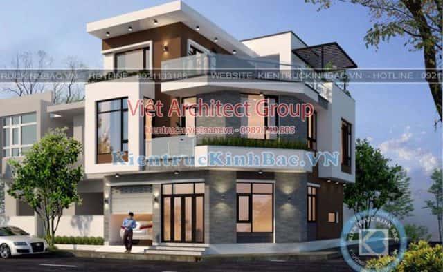 biet thu 3 tang 2 mat tien 040519 1 e1569816412819 - Công trình thiết kế biệt thự 3 tầng góc phố 2 mặt tiền