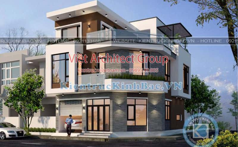 biet thu 3 tang 2 mat tien 040519 1 - Công trình thiết kế biệt thự 3 tầng góc phố 2 mặt tiền