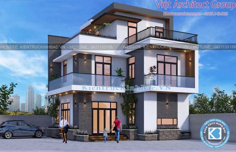 biet thu 3 tang hien dai ms4509 1 - Công trình biệt thự hiện đại 3 tầng anh Hưng - Đông Anh, Hà Nội