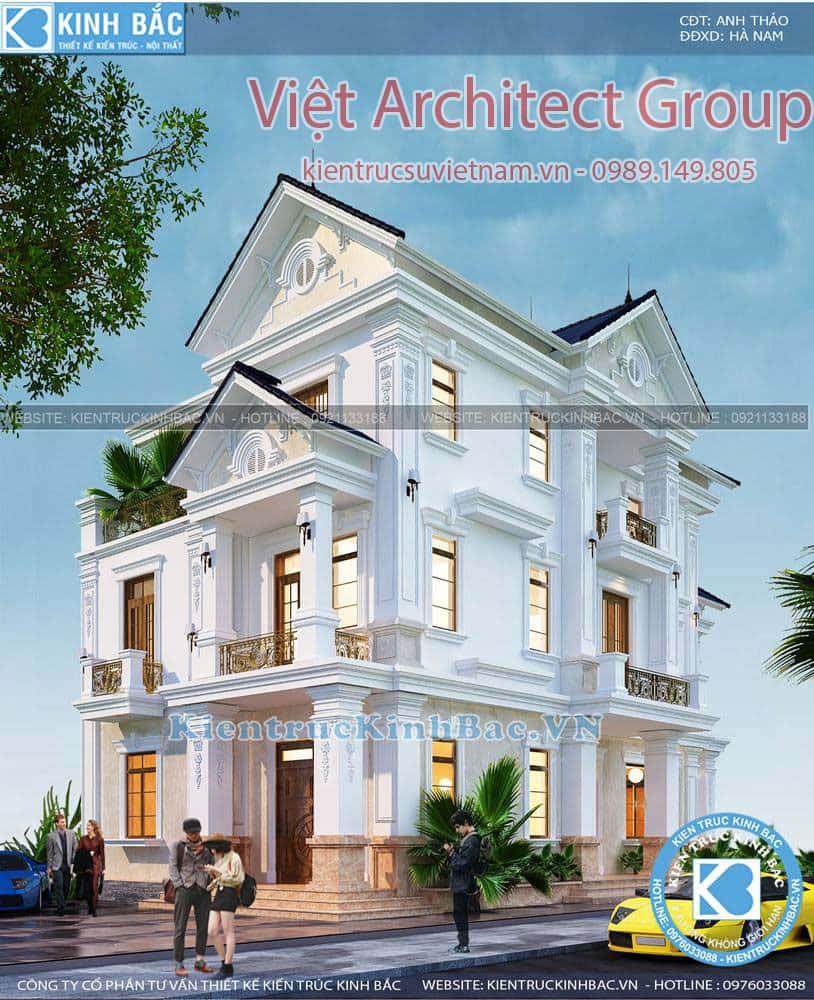 biet thu 3 tang tan co dien ms4509 2 - Công trình biệt thự tân cổ điển 3 tầng anh Thảo - Hà Nam