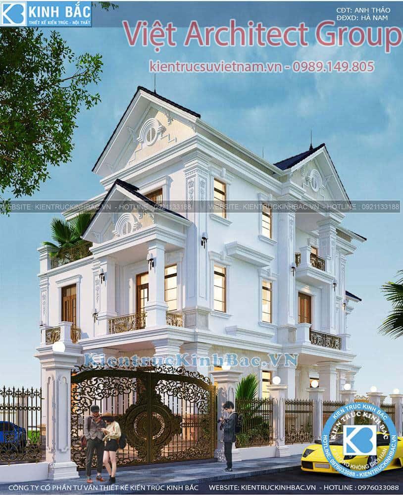 biet thu 3 tang tan co dien ms4509 4 - Bộ sưu tập mẫu thiết kế biệt thự phố đẹp và sang trọng