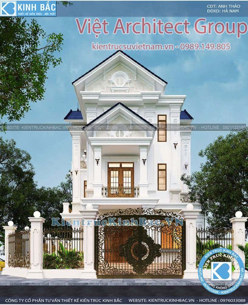 biet thu 3 tang tan co dien ms4509 5 - Công trình biệt thự tân cổ điển 3 tầng anh Thảo - Hà Nam