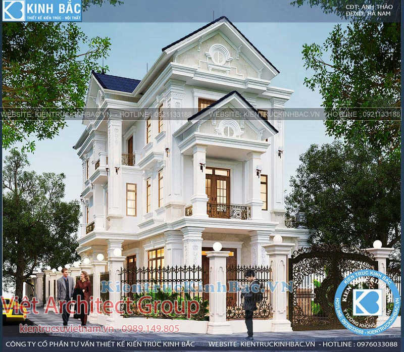 biet thu 3 tang tan co dien ms4509 7 - Dịch vụ xây nhà trọn gói uy tín chuyên nghiệp