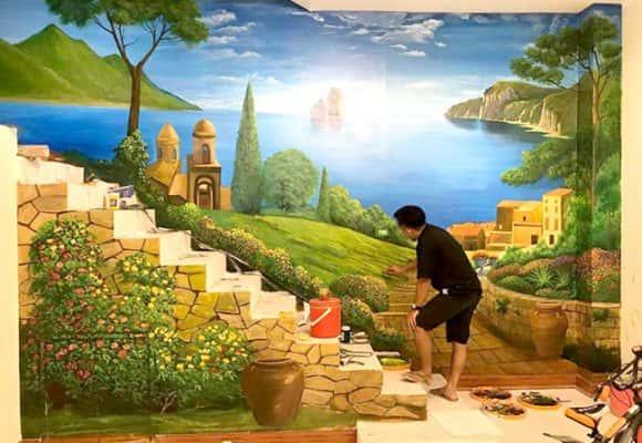 tranh tuong 3d1 580x400 - Vẽ tranh tường cầu thang đẹp ấn tượng
