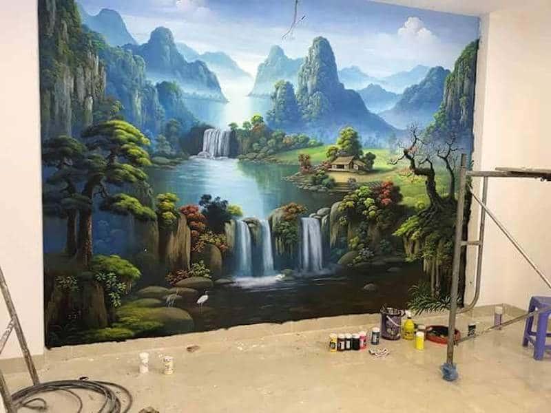 tranh tuong dep 1 - Vẽ tranh tường phòng khách đẹp