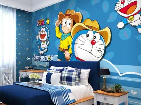 tranh tuong phong ngu doremon 2 533x400 - Vẽ tranh tường cho bé