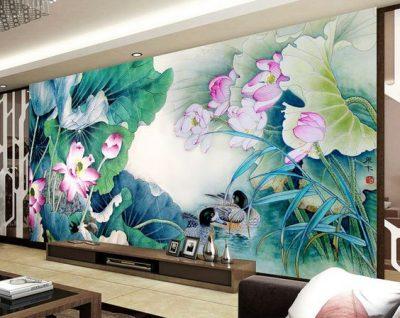 ve tranh tuong hoa sen dep 400x318 - Tranh tường biệt thự đẹp