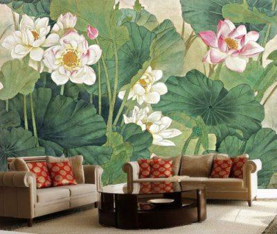 ve tranh tuong hoa sen phong khach 400x337 - Vẽ tranh tường hoa sen