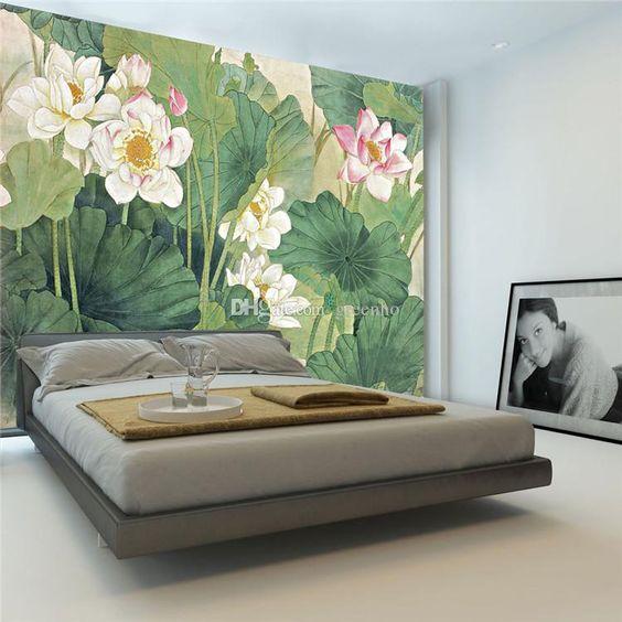 ve tranh tuong hoa sen phong ngu - Vẽ tranh tường phòng ngủ đẹp ấn tượng
